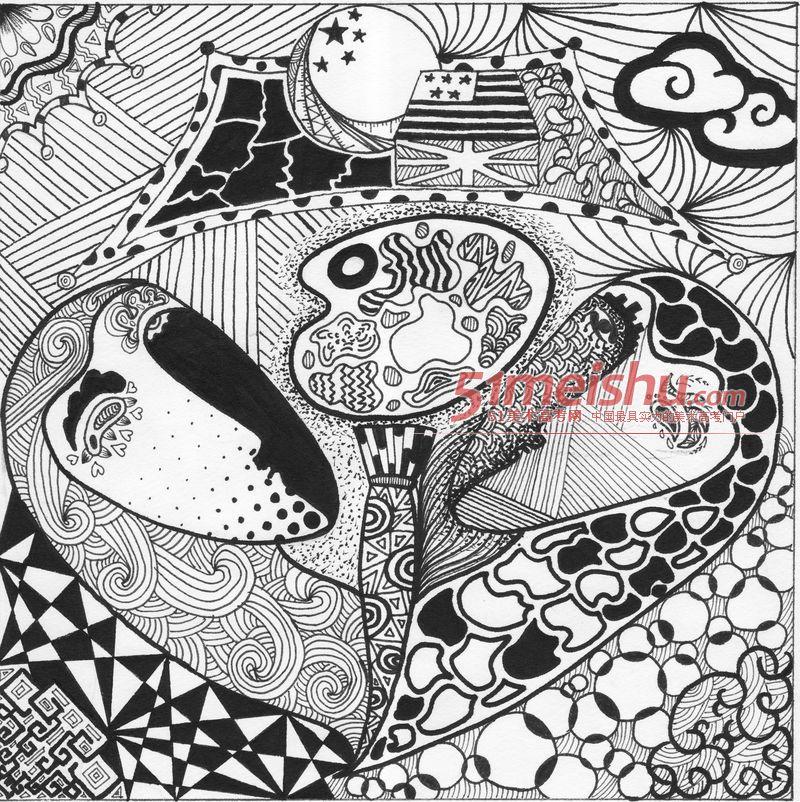 优秀黑白装饰画作品赏析066