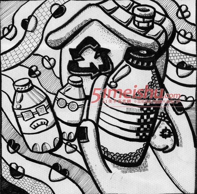 黑白装饰画学生作品赏析07