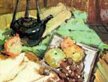 《国美视界  考前色彩教学笔记》深色罐子水果黄绿衬布的写生练习