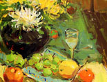 《国美视界  考前色彩教学笔记》花瓶花朵水果黄绿衬布色彩写生
