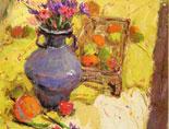 《国美视界  考前色彩教学笔记》紫色罐子水果花束的色彩写生训练