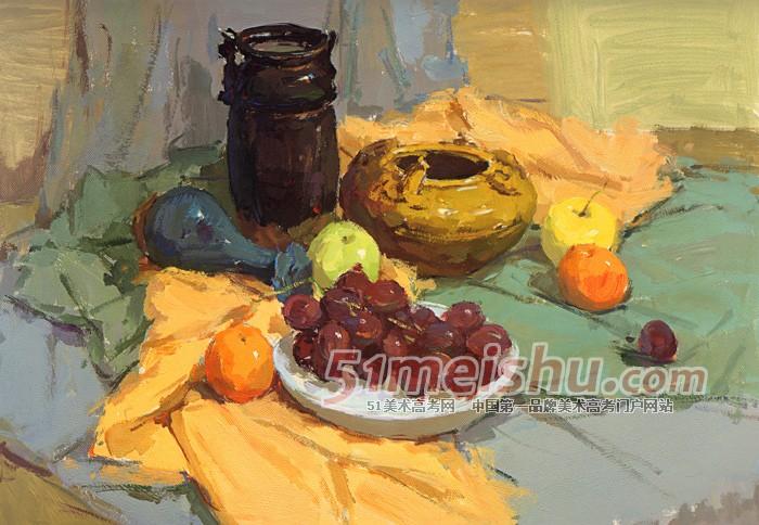 色彩衬布画法_静物与水果篮_素材分享