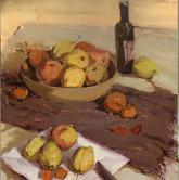 《高考速�f-色彩�o物���范例》棕色�r布瓶子水果水果刀水果�P色彩��生作品