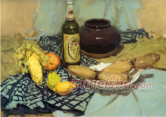 罐子水果素描静物图片_色彩静物水果写生图片_色彩静物水果写生图片画法