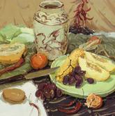 《高考速�f-色彩�o物���范例》多�K�r布水果陶罐高�_杯水果刀色彩��生作品
