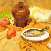 《教学视界-色彩静物课题训练》黄色衬布陶罐蔬菜鱼色彩写生作品