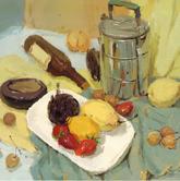 《高考速�f-色彩�o物���范例》水果金�亠�盒酒瓶色彩��生作品