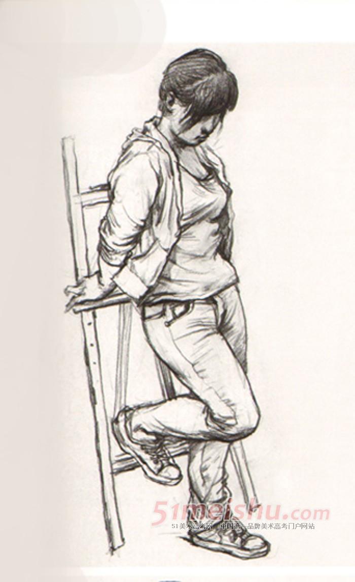 《教学视界-人物速写课题训练》女青年 站姿速写 写生 134x220-女 站