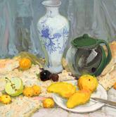 《基�A速�f-色彩�o物技法解析》花色�r布陶瓷罐茶罐�P子水果水果刀色彩��生作品
