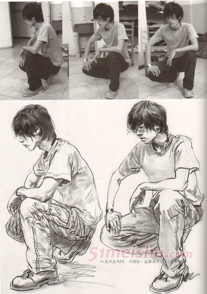 《权威范本-速写卷1》女青年坐姿速写写生作品_人物