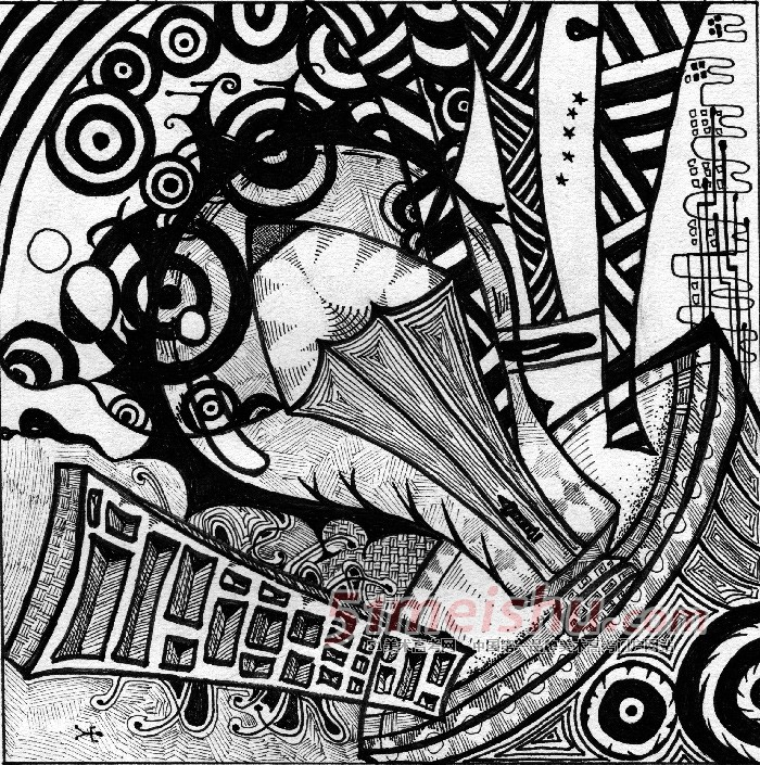 黑白装饰画学生作品01