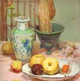 《高考速�f-色彩�o物���范例》粉色�r布瓷罐�P子水果花束色彩��生作品