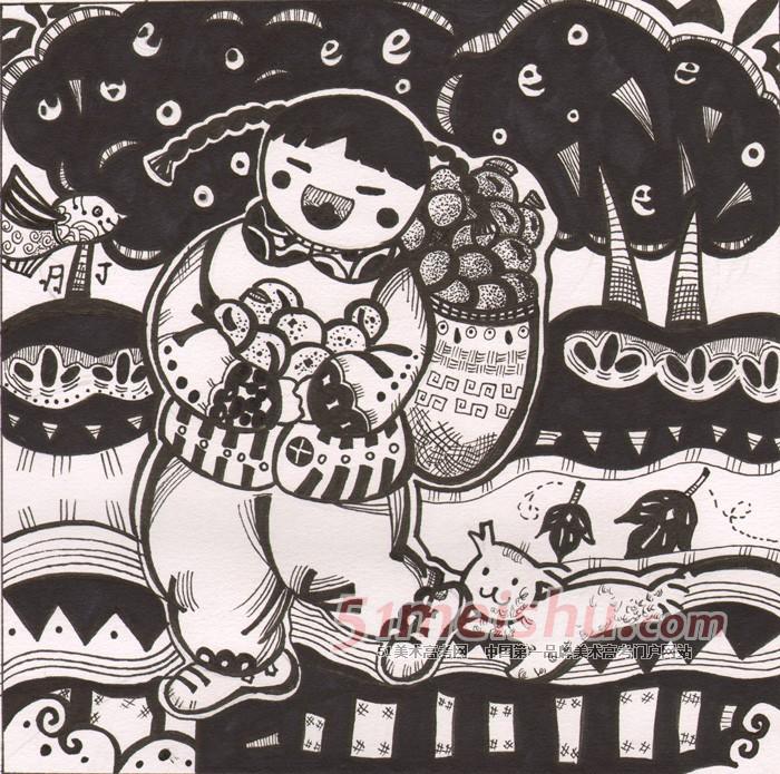 黑白装饰画学生作品02