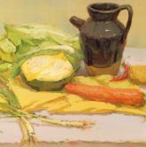 《高考速�f-色彩�o物���范例》桌面�S色�r布深色陶罐蔬菜色彩��生作品