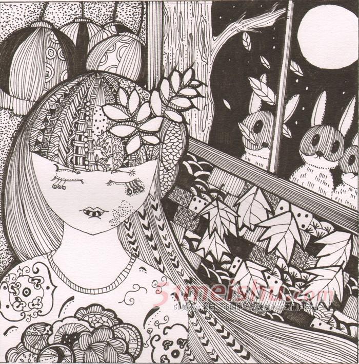 黑白装饰画学生作品01_黑白装饰画 - 51美术高考网