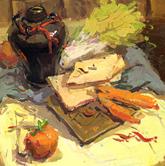 《��美�界--考前色彩教�W�P�》桌面灰�r布酒��蔬菜面包