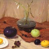 《基础速递-色彩静物技法解析》深红衬布液体玻璃花瓶水果蔬菜色彩写生作品