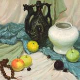 《基础速递-色彩静物技法解析》蓝绿衬布陶罐酒壶佛珠水果色彩写生作品