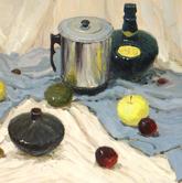 《基础速递-色彩静物技法解析》淡黄衬布蓝灰衬布电烧杯酒瓶水果小黑瓷罐色彩写生作品