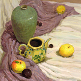 《基�A速�f-色彩�o物技法解析》深褐色�r布淡�S�r布�G瓷罐茶�厮�果色彩��生作品