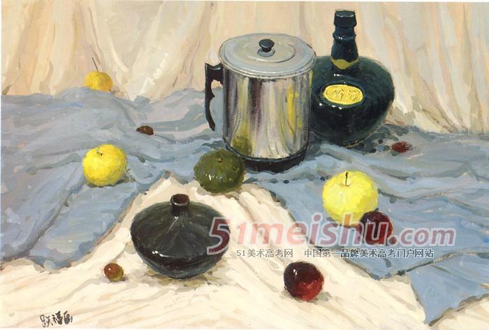 析》黄衬布条纹深红衬布大陶罐玻璃酒瓶水杯水