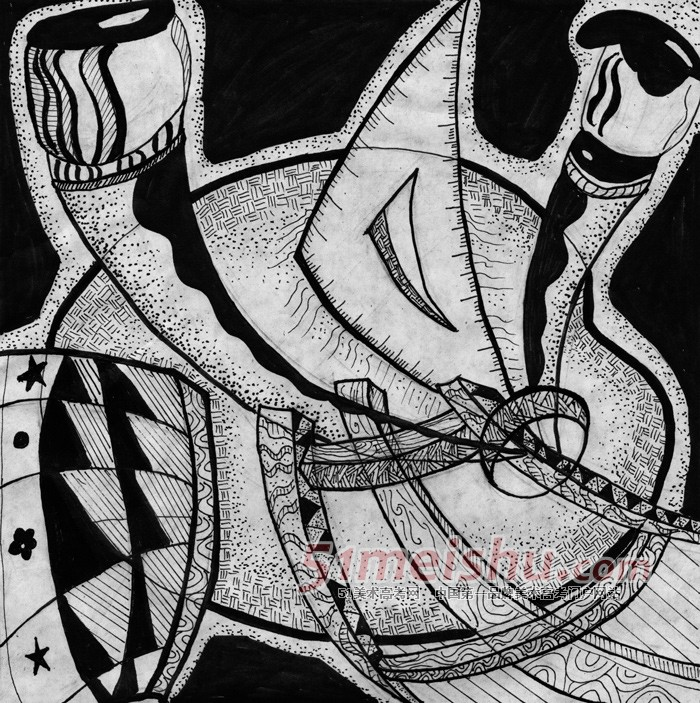 美术黑白装饰画教案,美术高考黑白装饰画,美术作品黑白装饰画,