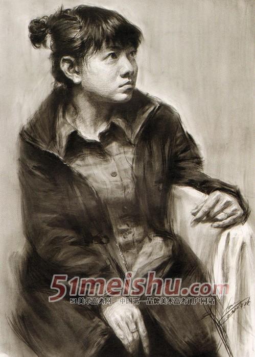 践 男青年正面半身像素描作品 素描半身带手 51美术高考网