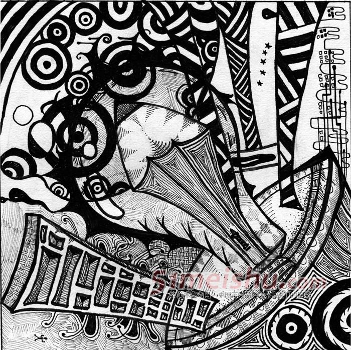 黑白装饰画学生作品04