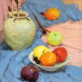 《基础速递-色彩静物技法解析》蓝衬布陶罐植物水果盘子色彩写生作品