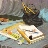 《基础速递-色彩静物技法解析》灰衬布浅蓝衬布水桶书本笔色彩写生作品