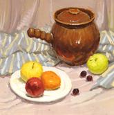 《基础速递-色彩静物技法解析》条纹衬布砂锅水果盘子玻璃杯色彩写生作品