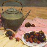 《基础速递-色彩静物技法解析》粉衬布深红花衬布水果水果盘色彩写生作品