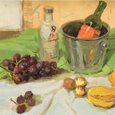 《高考速递-色彩静物应试范例》绿色衬布白色衬布水果水桶酒瓶色彩写生作品