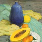 《基础速递-色彩静物技法解析》绿衬布黄衬布水果瓷罐色彩写生作品