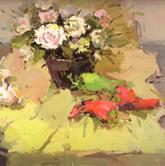《国美2012年色彩静物高分试卷》桌面黄绿衬布深色花瓶花束蔬菜色彩写生作品