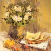 《国美2012年色彩静物高分试卷》褐色衬布深色花盆水果盘子面包色彩写生作品