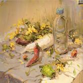 《国美2012年色彩静物高分试卷》深紫衬布蔬菜花束塑料瓶色彩写生作品