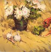 《国美2012年色彩静物高分试卷》黄色衬布深色花瓶花束蔬菜色彩写生作品