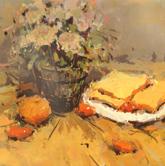 《国美2012年色彩静物高分试卷》黄衬布深色花盆水果面包盘子色彩写生作品