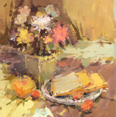 《国美2012年色彩静物高分试卷》 褐色衬布黄绿衬布花盆花束水果盘子面包色彩作品