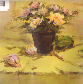 《国美2012年色彩静物高分试卷》黄色衬布桌面花盆花束蔬菜色彩作品