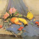 《国美2012年色彩静物高分试卷》蓝灰衬布花束水果色彩作品