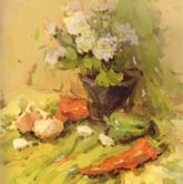 《国美2012年色彩静物高分试卷》桌面绿色衬布花盆花束蔬菜色彩作品