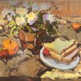 《国美2012年色彩静物高分试卷》褐色衬布花束花盆水果盘子面包色彩作品