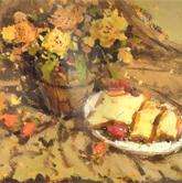 《国美2012年色彩静物高分试卷》黄色衬布花束花盆水果盘子面包色彩作品