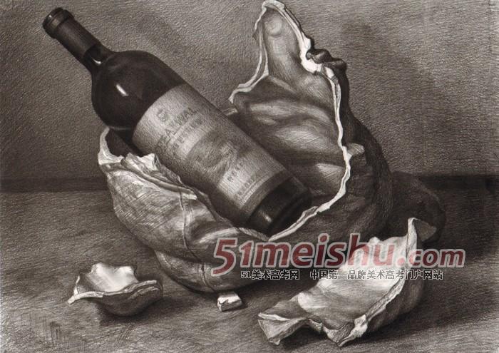 《黄楠素描静物经典教程》白衬布深色罐子蔬菜盘子静物素描_素描静物 - 51美术高考网