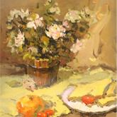 《国美2012年色彩静物高分试卷》浅黄衬布花束花盆水果盘子面包色彩作品