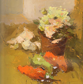 《国美2012年色彩静物高分试卷》黄衬布花束花盆蔬菜色彩作品
