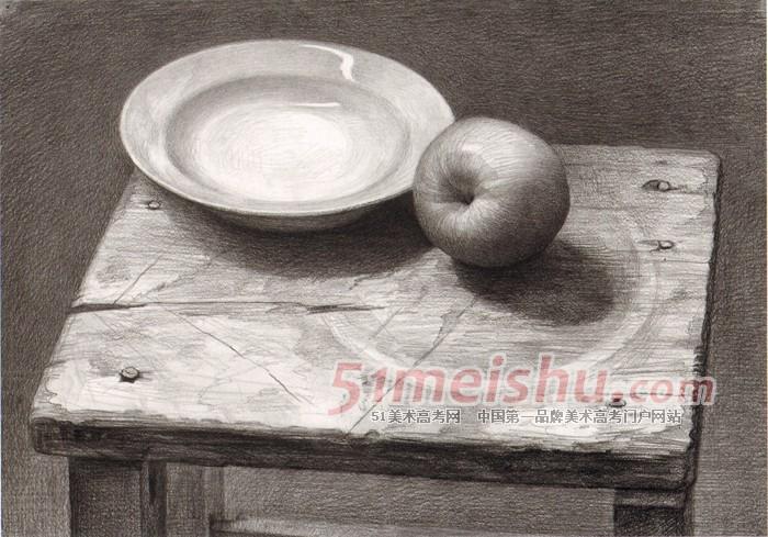 《黄楠素描静物经典教程》凳子盘子苹果静物素描