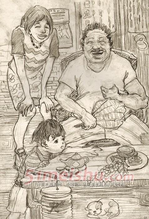 《清美2012年速写高分试卷》小孩老人女人场景速写